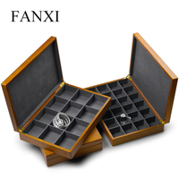 Oirlv Soild Wooden Jewelry Box Ring Necklace Display Jewelry Case with Microfiber Jewelry Organizer