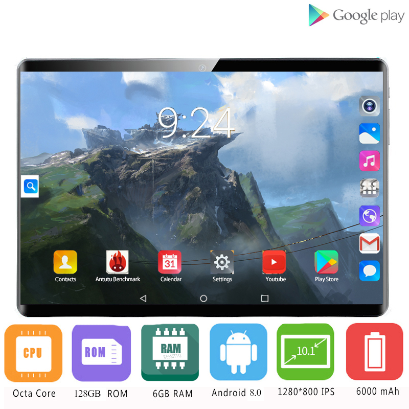 2020  4G Network Tablet PC  Deca Core 6GB RAM 128GB ROM Android 8.0 10 Inch 1920*1200 5.0 Camera Wifi Bluetooth GPS Phablet