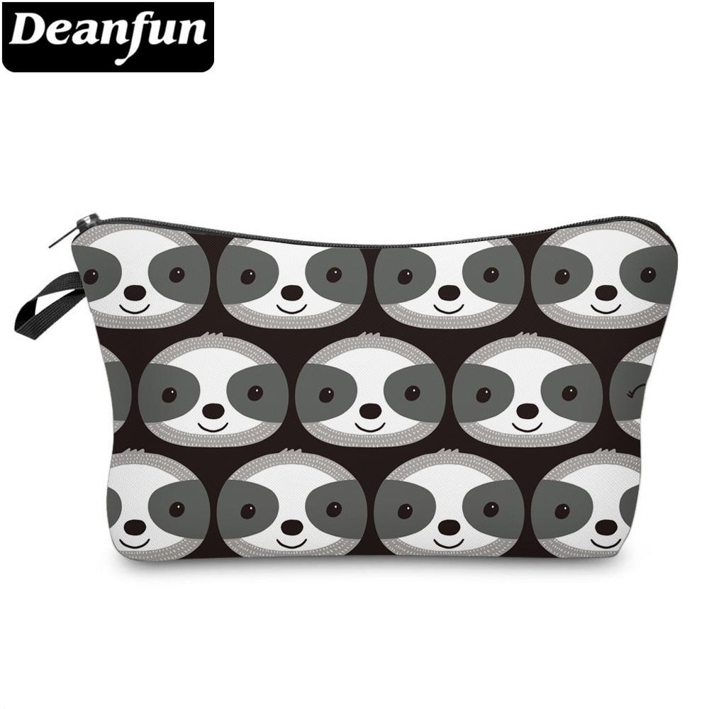 Deanfun Printing Sloth Cosmetic Bag Stylish Black Makeup Bag Waterproof Organizer 52022