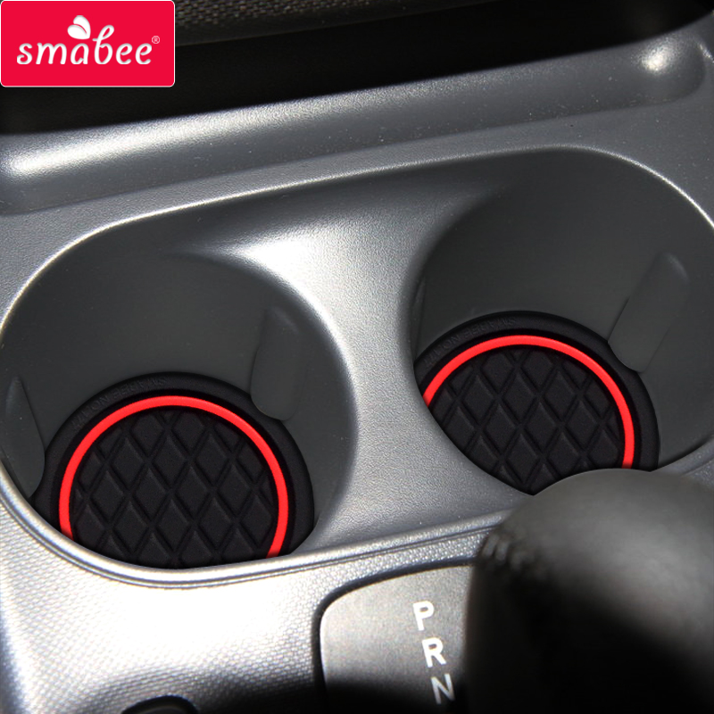 Smabee Anti-Slip Gate Slot Pad For Smart 453 Fortwo W453 Rubber Cup Holders Accessories Coaster Non-slip Mats White Luminous