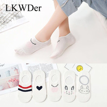 Boat Socks Non-Slip Low-Cut Silicone Cotton Summer Cartoon Women 5-Pairs Shallow Mouth