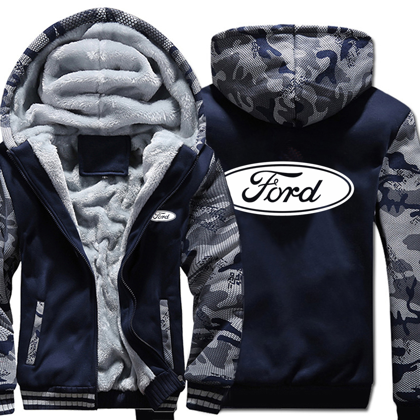 Ford Hoodies Winter Camouflage sleeve Jacket Men Fleece Ford Men Sweatshirt title=