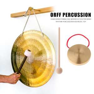 Cymbals Percussion Wooden Stick Hand-Gong Music-Toys 21cm with Kids Copper