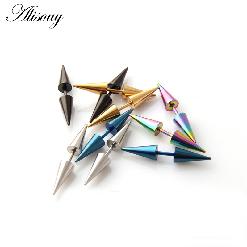 2 pçs moda clássica punk rock rebite ponta de pico cone 316l aço inoxidável brincos de orelha dos homens piercing jóias do corpo