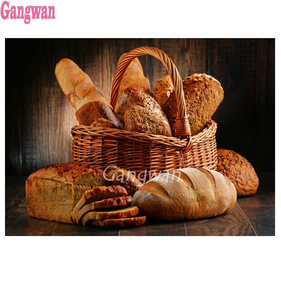 Diamante bordado pão comida 5d diy pintura diamante completo quadrado broca redonda 3d strass mosaico restaurante decoração da cozinha