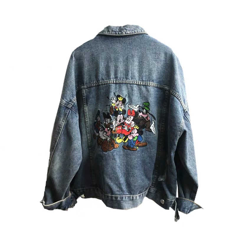 Hohe qualität mode druck jacke denim mantel frauen outwear lange hülse lose stickerei cartoon jeans cowboy mantel im winter