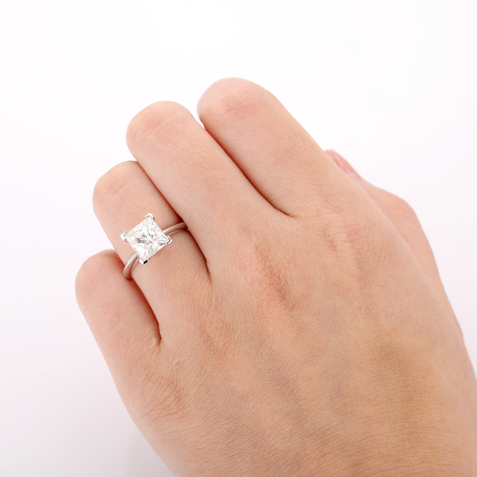 Test Positive Princess Cut 3ct Moissanites Simple Prong Set Solitaire Ring 14k White Gold Engagement Rings Fine Moissanites Ring Gold Casting Ring Ring Rattlegold Ring Patterns Aliexpress