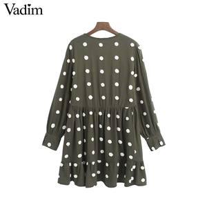Image 2 - Vadim 여성 우아한 폴카 도트 디자인 미니 드레스 v 목 긴 소매 여성 캐주얼 스트레이트 스타일 드레스 vestidos qd044