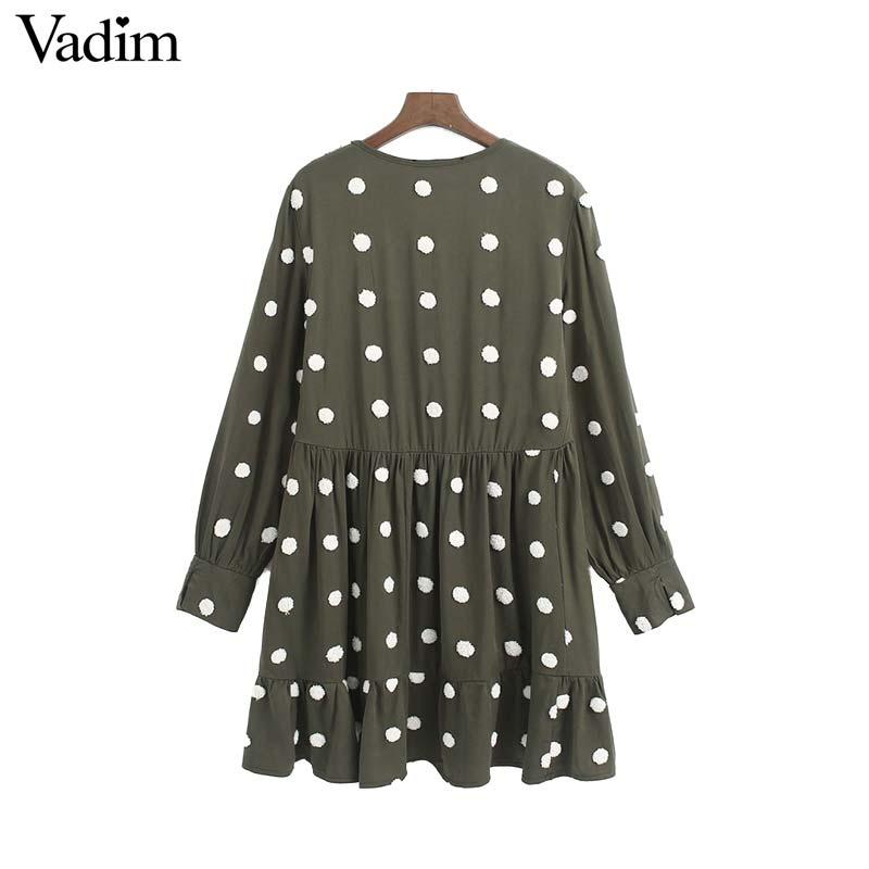 Image 2 - Vadim women elegant polka dots design mini dress V neck long sleeve female casual Straight style dresses vestidos QD044Dresses   -