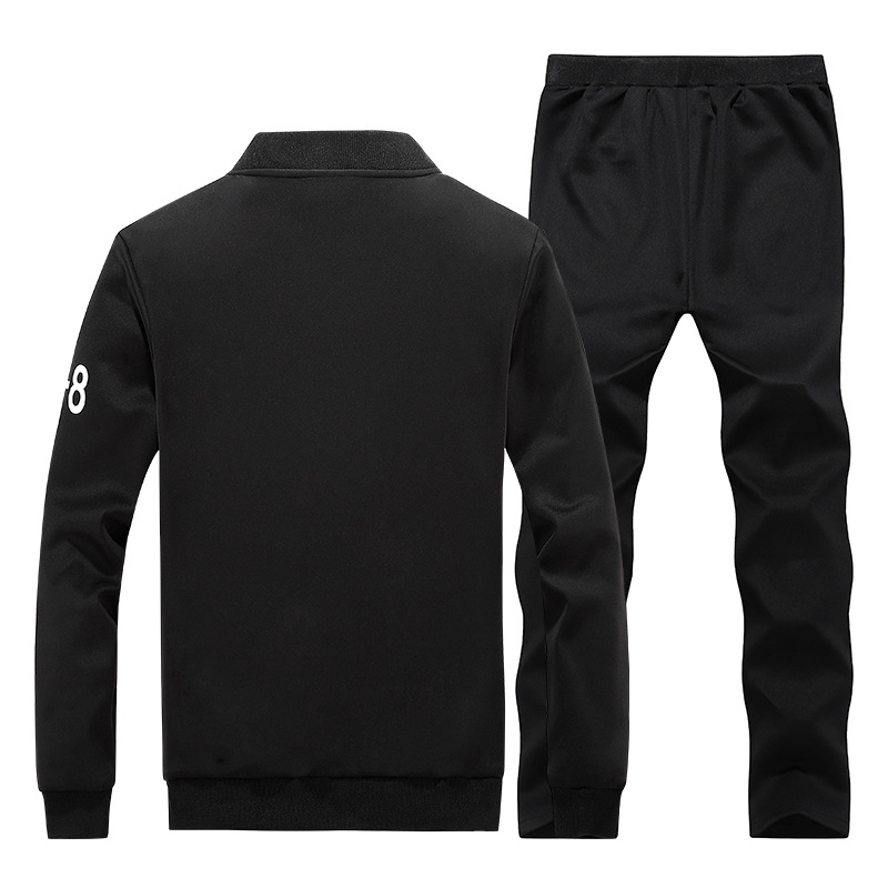 New Style Men Casual Sports Hoodie Suit Baseball Uniform Loose-Fit Trousers Two-Piece Set Spring And Autumn Running Fitness Suit