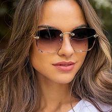 Очки солнцезащитные женские квадратные без оправы модные брендовые