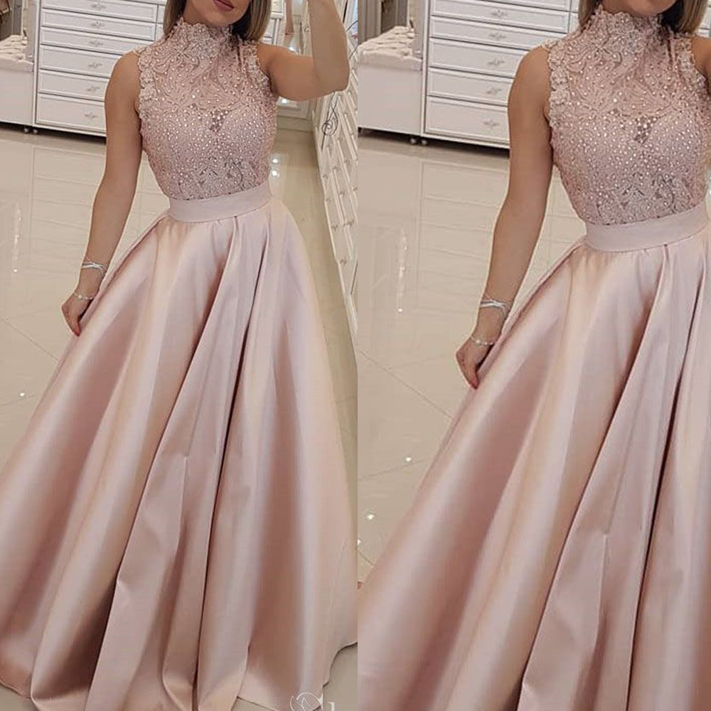 Pink Prom Dresses 2020 Lace Appliques Pearls Beading Crystal Lace Appliques Satin Floor Length Evening Dresses Vestidos De Gala