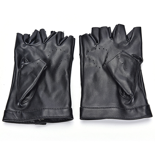 PU Leather Gloves Punk Hip-hop Half-finger Round Tactical Gloves Without Fingers Nail Glove 5