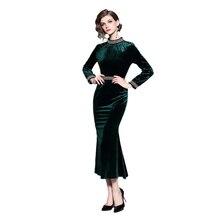 ARiby Women Fashion Mermaid Dress 2019 Autumn Winter New Vintage Velvet Full Sleeve O-Neck Nail Bead Slim Mid-Calf