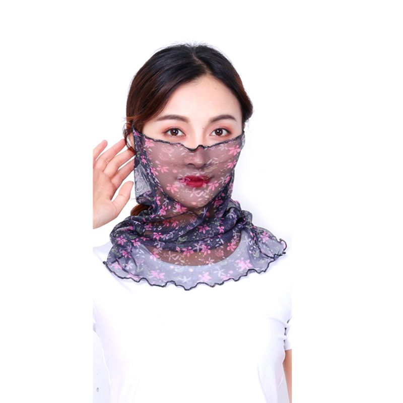1PCS 1PCS Summer Sunscreen Mouth Mask Breathable Women Neck Protection Face Mask Riding Anti-dust Masks Mouth-muffle Lace Neck