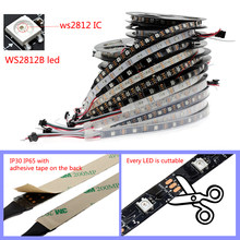 0.5M/2M/5M Ws2812b Lampu Pixel LED Strip Addressable 30/60/144/LED/M DC5V 5050 RGB Hitam/Putih PCB,matrix Seni-Net,MADRIX(China)