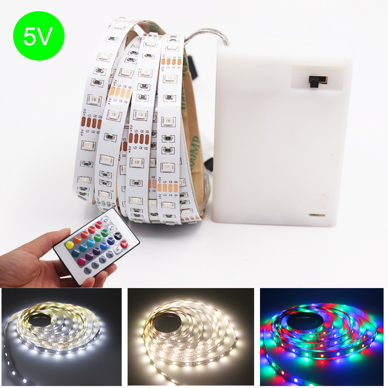 DC 5V 3AA Battery LED Strip Lamp SMD 2835 RGB Flexible LED Light Tape Ribbon HDTV TV Desktop Screen Background Bias Lighting