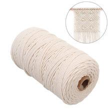 2mm x 200m macrame corda trançada cabo de algodão para artesanal corda bege natural diy casa acessórios de casamento presente navio da gota