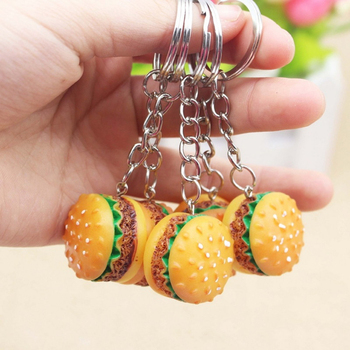 Cute Burger Food Keychains Pendant Car Key Holder Ornament Bag Phone Key Ring Key Chain Fashion Simulation Jewelry Gifts image