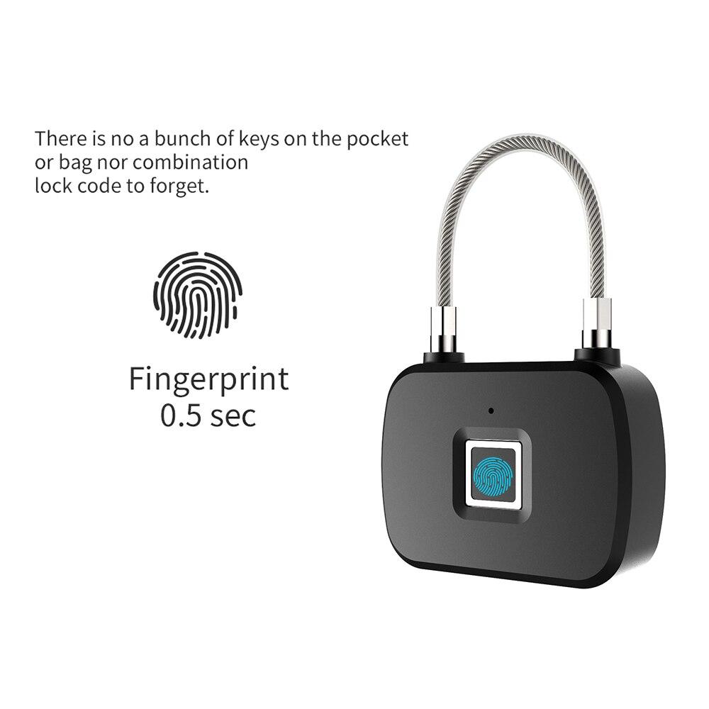 Keyless Door Lock Fingerprint Smart Padlock Quick Unlock Zinc Alloy Metal Self Developing Chip