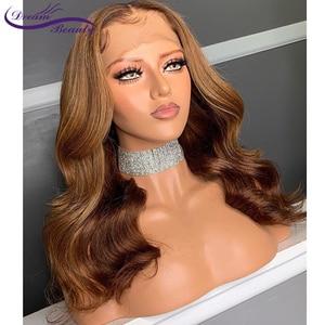 Image 2 - Ombre Tóc Vàng Nổi Bật Tóc Ren Mặt Trước Tóc Giả Với Tóc Cho Bé 13X6 Brasil Lượn Sóng Remy Tóc Trước Nhổ Con Người tóc Giả Giấc Mơ Làm Đẹp