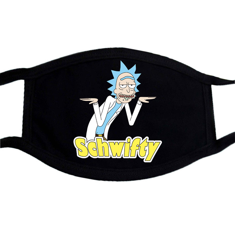 Cartoon Rick And Morty Print Mask Black Casual Winter Warm Cotton Washable Face Masks Dustproof Unisex Fashion Mouth Muffle