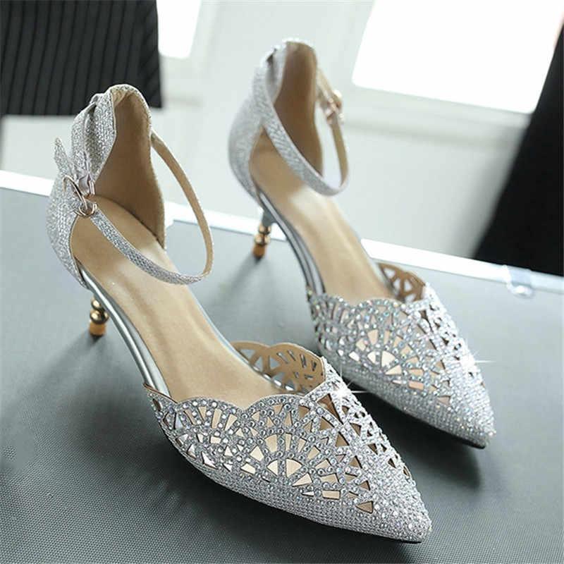 Agodor senhoras strass sandálias de verão glitter gatinho sapatos femininos salto médio tornozelo cinta sapatos de casamento nupcial prata