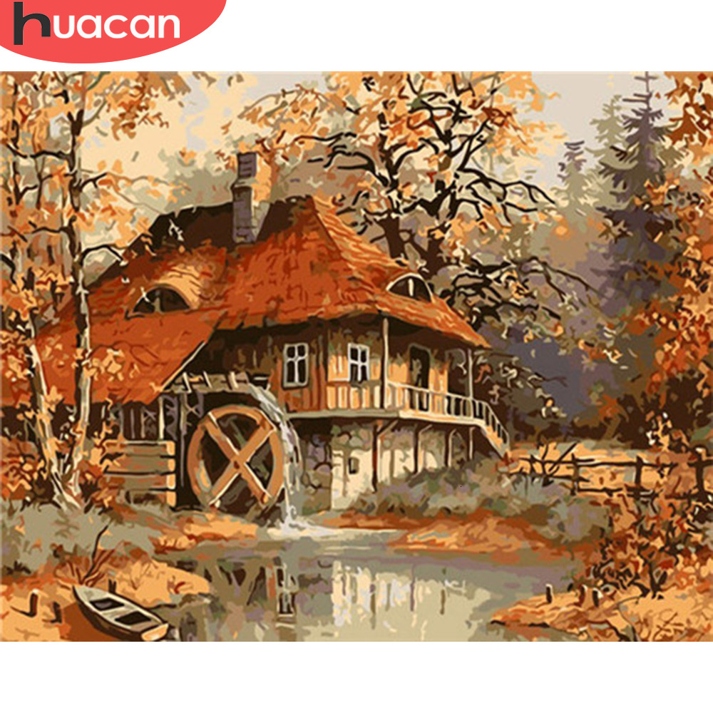 HUACAN Pictures By Numbers House Landscape Acrylic Drawing Canvas Painting Autumn For Adult Wall Art DIY Home Decor