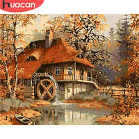 Huacan fotos por números casa paisagem acrílico desenho da lona pintura outono para adulto arte da parede diy decoração casa