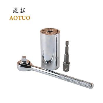цена на AOTUO 3 / 8 7-19mm Electric Drill Adapter Universal Torque Wrench Head Set Multifunctional Ratchet Socket Hand Tool