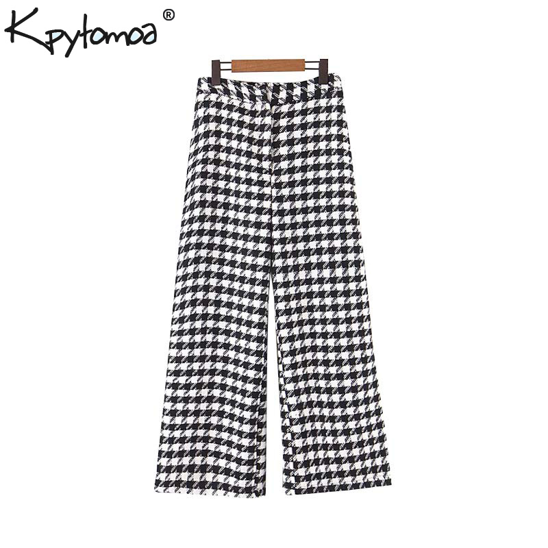 Vintage Stylish Office Wear Houndstooth Straight Pants Women 2020 Fashion High Waist Zipper Fly Pocket Ladies Ankle Trousers