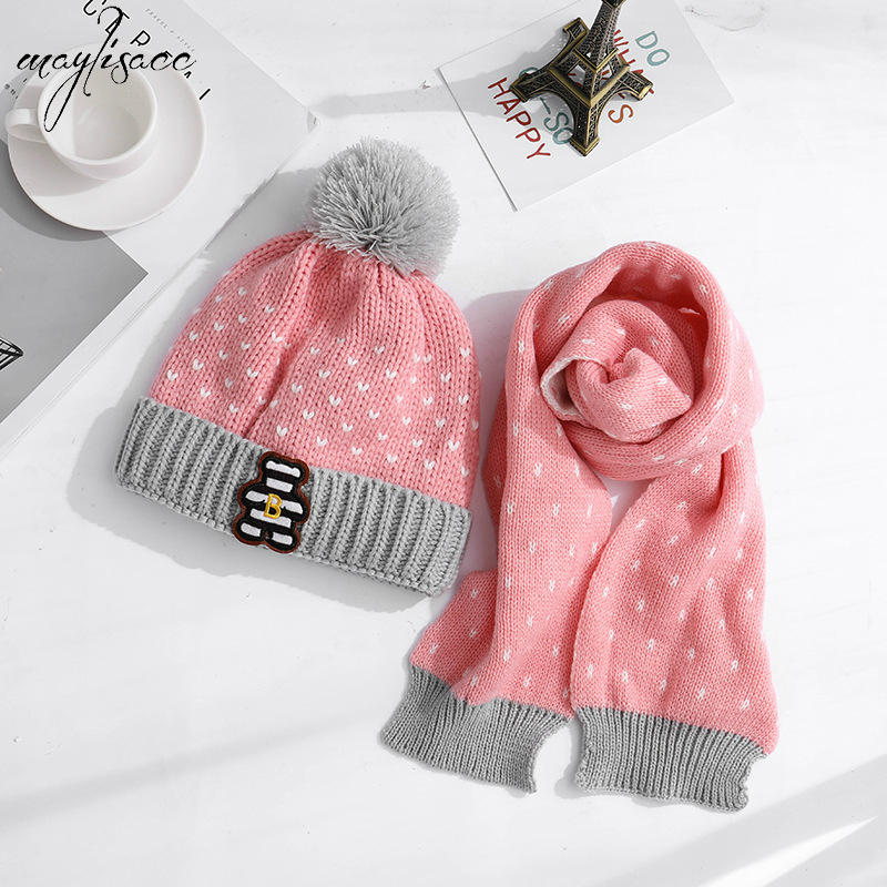 Maylisacc 2019 Autumn Winter Velvet Hat Bear Knitted Scarf Set 4-12 Years Old Children's Warm Knitted Scarf Hat 2pcs Set 5 Color