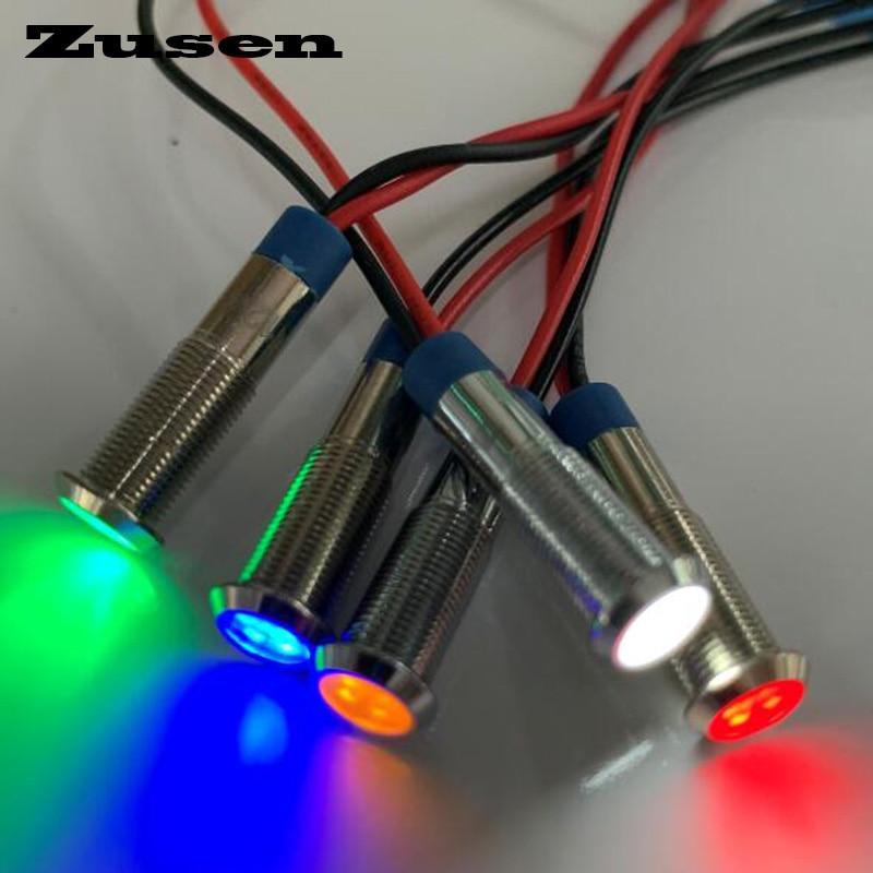 Zusen 6mm 12V Metal Indicator Light Waterproof Signal Lamp(ZS06-D/12V/N)