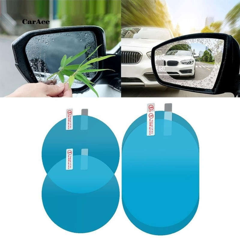 2Pcs Car Rainproof Film Car Rearview Mirror Protective Film Anti fog Waterproof Clear Protective Soft Film Car Accessories