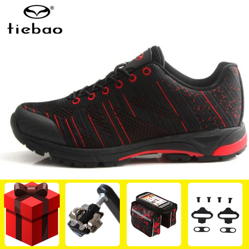 Tiebao Leisure Men Cycling Shoes add pedal set sapatilha ciclismo mtb Equipment Road Racing  PVC Soles Mountain Bike Triatlon|Cycling Shoes| |  - title=