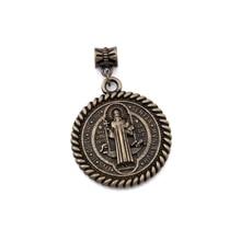 20pcs/lots Antique bronze Saint St Benedict de Nursia Medal Dangle Charm Beads Fit necklace DIY Jewelry 31x46.5mm A-556a