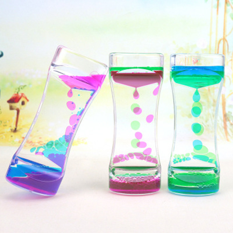 Hourglass Timer Clock Ornament Desk Decor Floating Color Mix Illusion Acrylic Timer Liquid Motion Visual Slim liquid Oil Glass(China)
