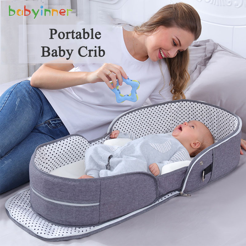 Babyinner Portable Baby Crib Mummy Bag Infant Nest Cradle Folding Newborn Travel Bed In Bed Cot Mattress Bassinet Room Decor