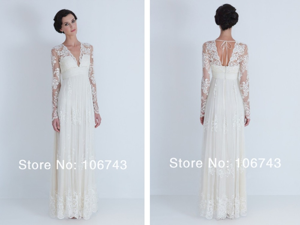 2018 New Style Lace Cheap With Long Sleeve Custom Sexy V-neck Maxi Long Bridal Gown Vestido De Noiva Mother Of The Bride Dresses