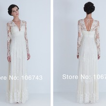 2018 new style lace cheap with long sleeve Custom sexy v-neck maxi long bridal gown vestido de noiva