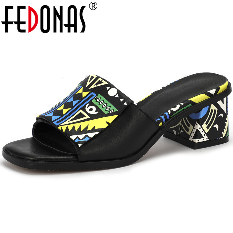 FEDONAS Mixed Colors Genuine Leather Sandals For Girls Concise Slingbacks Thick Heels Pumps Wedding Night Club Shoes Woman Heels