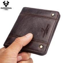 Cartera minimalista de cuero genuino para hombre, cartera pequeña plegable con cremallera para hombre, monedero compacto, gran oferta, 2020