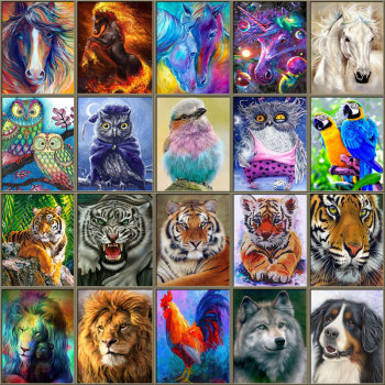 5D Diamond Painting Animals Horse Diamond Mosaic Tiger Lion DIY Full Round Diamond Embroidery Cross Stitch  Rhinestone Art