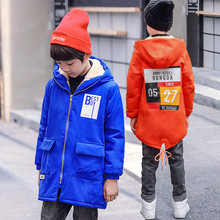 5-17T Boys Plus Velvet Trench Children Boy Warm Hooded Coat Fashion Letters Trench Coat For Boy High Quality Jackets
