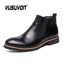 Men Chelsea Boots 38-46 Fashion Brogure Pattern High-top Casual Shoes Spring Summer Ankle Martin Genuine Leather British Style