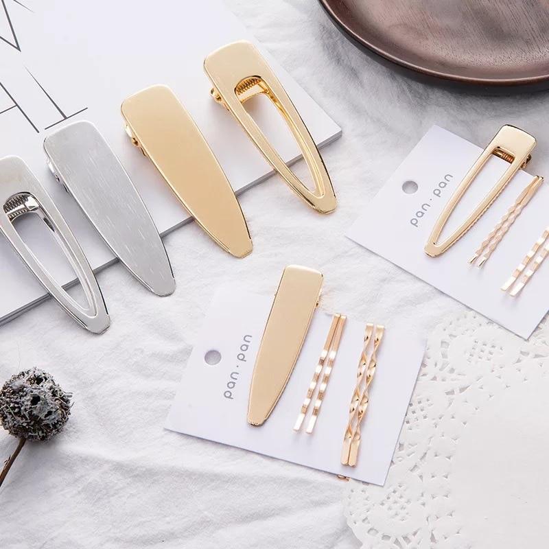 New Hot Fashion Women Hair Clip Geometric Pearl Hairpins Alloy Metal Barrettes Girls Convenient Hairgrips Hair Accessories