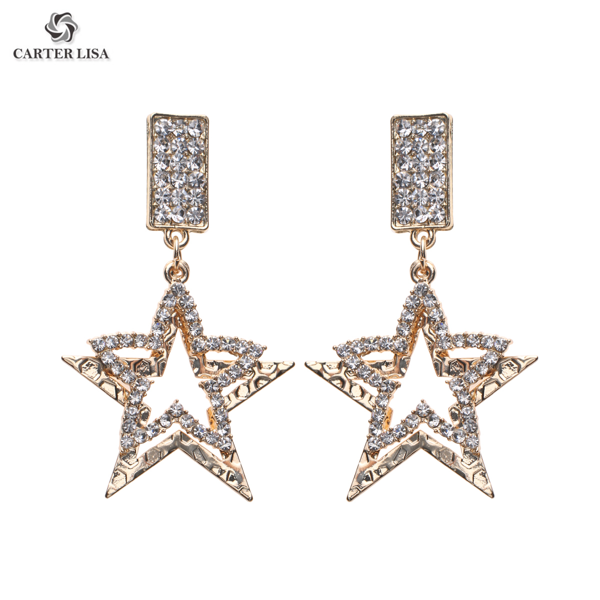 CARTER LISA Crystal Rhinestone Star Pendant Big Dangle Drop Earrings Jewelry Women Fashion Statement Earrings Accessories