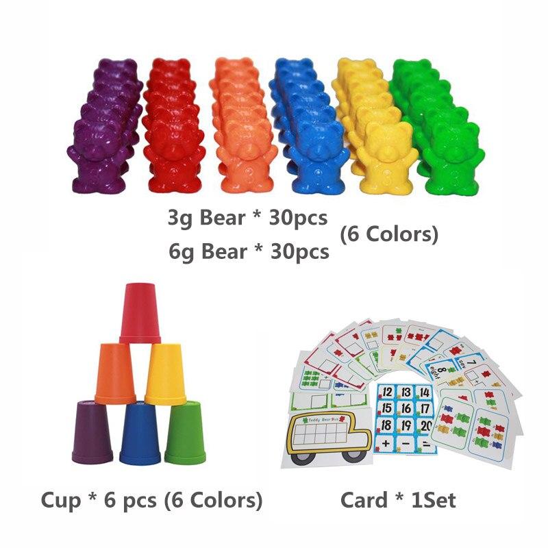1 набор, счетные медведи, штабелирование чашек-Монтессори, радужная игра, обучающая Сортировка цветов, игрушки для малышей - Цвет: Set J