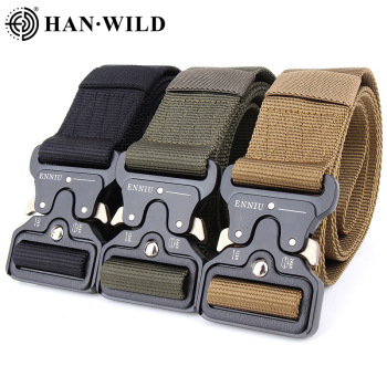 Metal Buckle Adjustable Army Police Military Tactical Nylon Belt  Outdoor Quick Release Hunting Training Belt Width 3.8CM 4.3CM military web belt 1 5 inch rapid release gun belt tactical nylon duty belt with buckle multifunctional gear outdoor equipment