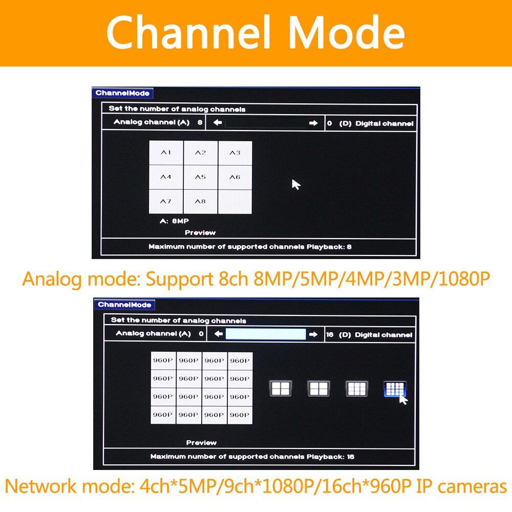 5in1 Echt H.265 8ch 8M-N/4K HVR Sicherheit CCTV hybrid video recorder DVR P2P P6Spro unterstützung AHD/ TVI/CVI/CVBS/IP kameras ONVIF